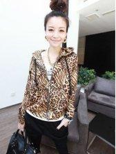 New Wild Women Leopard Zip up Hooded Coat