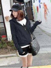 New Stylish Korea Pure Color Slim Fit Drawstring Coat