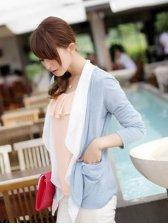 Wholesale Color Block Slim Fit Chiffon Short Coat