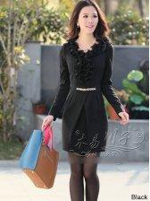 Women's V-neck Natural Waist Flounced Long Sleeve Mini Dress