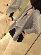 Vogued Lady Asym Hem Color Block Short Coat