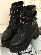 Cool Fashion Rivet Design Straps High Heel Boots