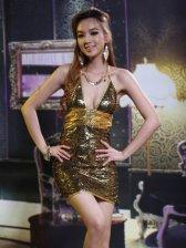 Women Fashion Sequins Backless Metal Buttons Slim Club Wear