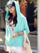 Women Fashion Zip up Side Pockets Casual Hoodie