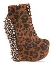 Charming Women Round Toe Leopard Short Boots