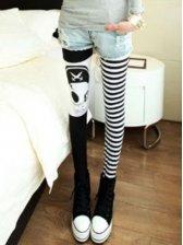Korean Style Skull Strip Patched Skinny Leggings