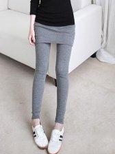 New Fashion Pure Color Slim False Two Pieces Legging