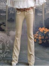 Fashion Arrival Lace Edge Low Waist Slim Long Pants