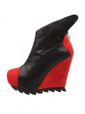 European Style Color Matching Back Zipper Wedge Boots
