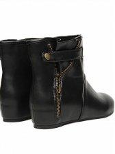 Retro Rome Round Toe Side Zipper Flat Short Boots