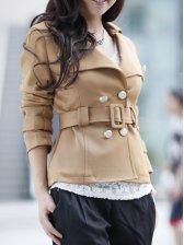 Hot Sale Turn Collar Drawstring Slim Short Coat
