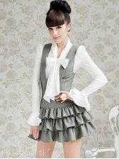 New Fashion Turn Collar Multilevel Ruffle Slim Sleeveless Dress