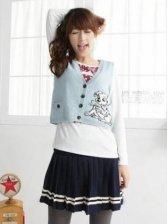 Sweet European Fashion Stripes Pleated Mini Skirt