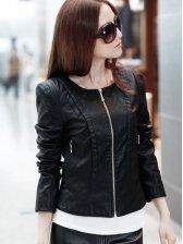 New Fashion Zipper Design Slim Short PU Jacket