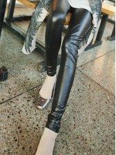 European Fashion Pure Color Faux Leather Slim Legging