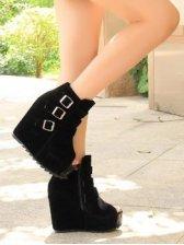 New Fashion Belt Buckle Peep Toe Wedge Boots