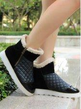 Korean Fashion Side Zipper Diamond Plaid Short Boots
