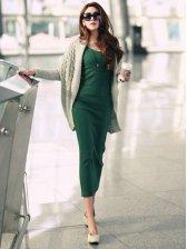 Basic Lady Fashion V-neck Fitted Long Sleeve Maxi Dress