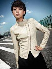 Fashion Arrival Side Zipper Slim PU Short Jacket