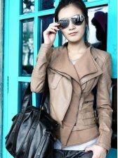 New UK Style Double Collar Zip up Slim Leather Jacket Coat