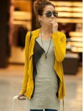 Lady Stylish Color Block Front Open Short Coat