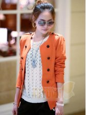 New Fashion Pure Color Double-breasted Slim Short Coat