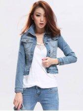 Korean Fashion Single-breasted Double Pockets Slim Denim Coat