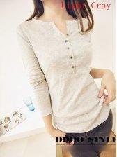 European Stylish Women V-neck Long Sleeve T-shirt