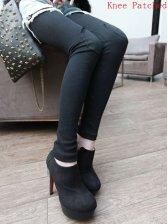 Fashion Girls Knee Patched Slim Leggings