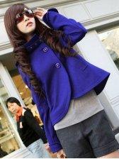 Korean Elegant Lady's Retro Polo Neck Coat