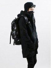 Preppy Style Men Zip up Hooded Long Coat