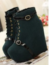 New Arrival Belt Buckle Straps Wedge Short Boots