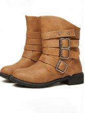 Hot Sale Belt Buckle Pure Color Short Boots
