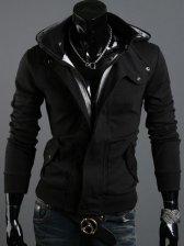 Hot Sale Zipper Double Pockets Casual Hooded Coat