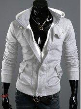 Wholesale Zipper Double Pockets Casual Hooded Coat