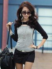 Stylish Girl's Hole Collar Color Blocking T-Shirt