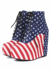 Super Star Style American Flag Pattern Lace up Wedge Boots