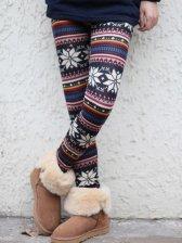 New Arrival Women Snows Print Thickening Slim Leggings