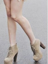 Hot New Fashion Square Toe Lace up Short Boots