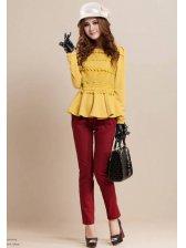 Korean Style Floral Lace Ruffle Hem Slim Short Coat