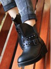 European Style Rivet Design Belt Buckle Short Boots