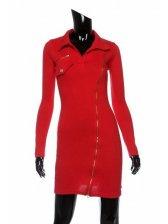 Fashion Arrival Side Zipper Turn Collar Slim Dress