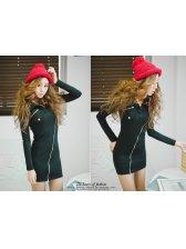 Korean Style Side Zipper Turn Collar Slim Dress