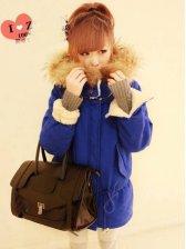 Hot Sale Double Pockets Big Fur Hood Short Coat