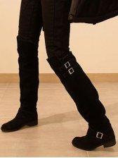 Korean Fashion Belt Buckle Pure Color Long Boots