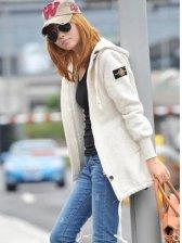 Korean Style Zipper Design Drawstring Hooded Casual Coat