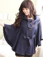 Cloak Style Big Turn Collar Belt Design Short Coat