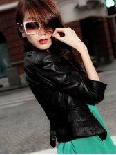 New Fashion Women Three-quarter Sleeves V-neck PU Coat