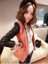 Hot Sale Leather Patched Zipper Decorate Woolen Suit
