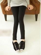 New Autumn Pure Color Side Zipper Legging